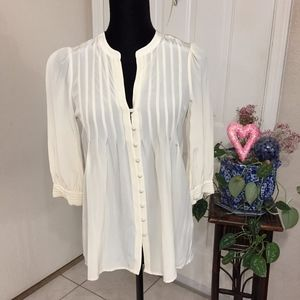 Joie Silk Cream Sheer Blouse (size S)(B4)